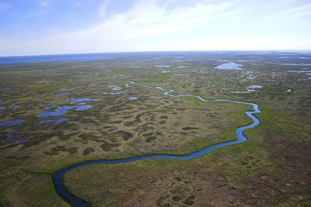 Aerial photos of arctic tundra wetlands for backgrounds and textures  Banco de Imagens
