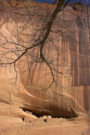 Ancient ruins of pre-historic Indian cultures of American southwest and surroundings, Canyon de Chelle 版權商用圖片