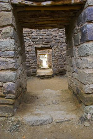 indian artifacts: Ancient town of pre-historic Indian cultures of American southwest and surroundings, Aztec Ruins National Monument