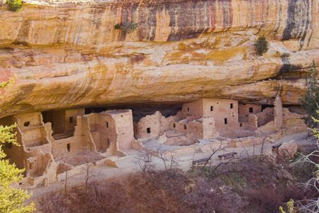 Ancient ruins of pre-historic Indian cultures of American southwest and surroundings, Mesa Verde National Park Stock Photo