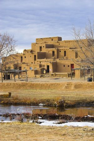 Fragments of architecture, houses, churches, cemetery at the International Historic Heritage Site in Taos Indian village and a nearby town