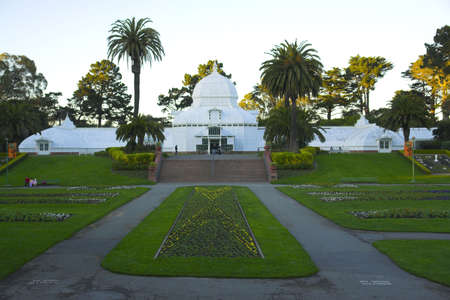 conservatory: Conservatory of flowers in the park in San Francisco, California