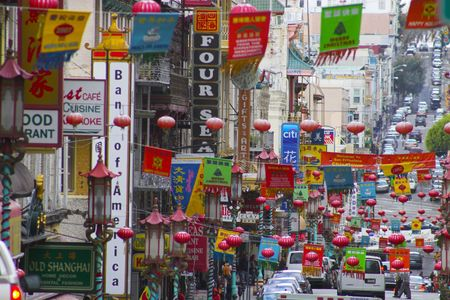 Fragment of colorful Chinatown street in San Francisco, California