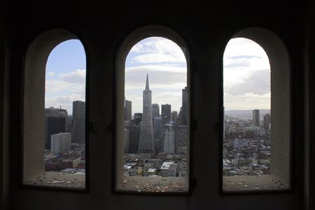 telegraph hill: View of downtown buildings and streets from Coit Tower, San Francisco, California