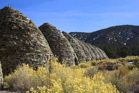 Fragment of famous ancient charcoal kilns for making coal of juniper and pine in mountains, Death Valley National Park photo