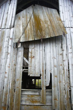 Fragment of farm barn with maize soy and wheat fields   photo