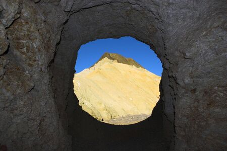 borax: View from the desert borax mine with multicolored yellow clay and salt mineral deposits in geological formations of Death Valley National Park