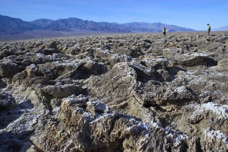 Salt formations with clay mineral deposits in Devils Golf Course of Death Valley National Park