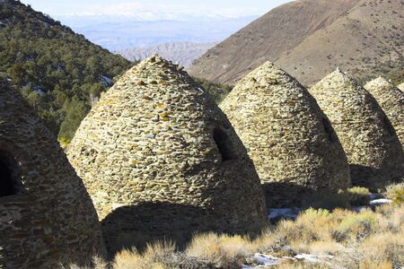 famous industries: Fragment of famous ancient charcoal kilns for making coal of juniper and pine in mountains, Death Valley National Park