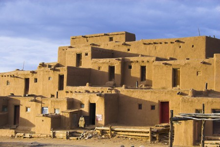 indian artifacts: Fragments of architecture, houses, churches, cemetery at the International Historic Heritage Site in Taos Indian village and a nearby town