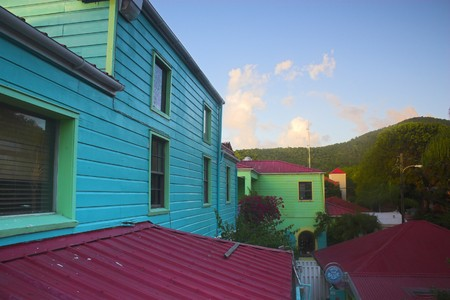Various fragment of tropical architectural design in Caribbean islands photo