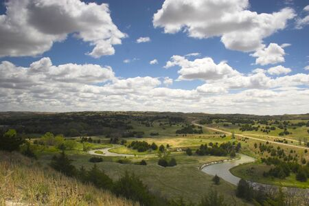 View from the sand hill onto prairies and forests  Stock Photo