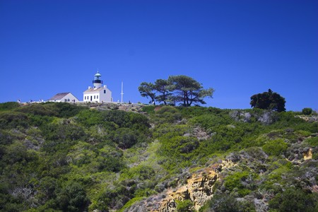 Famous historic lighthouse on the edge of San Diego