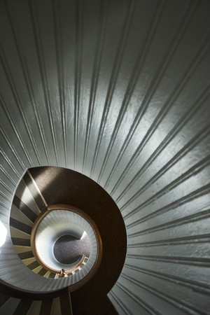 Staircase of famous historic lighthouse on the edge of San Diego photo