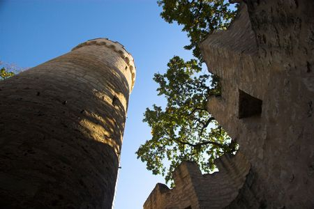 ramparts: Old medieval tower and ramparts of castle in Jena, Germany