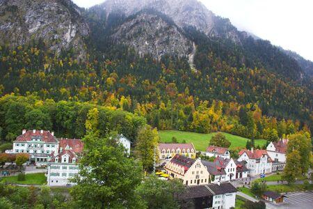 schwangau: Beautiful mountain landscape and Schwangau village seen from Hohenschwangau castle in Bavaria
