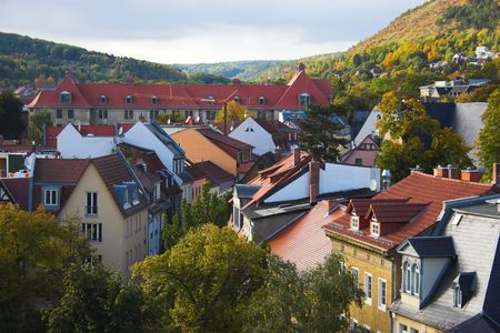 Panoramic view of buildings, trees, hills from tower in Jena, Germany Stock fotó