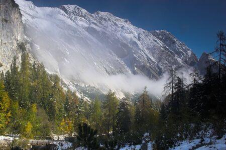 Snowy mountain and trees in Alp region of Austria Reklamní fotografie