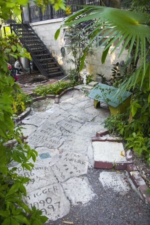 hemingway: Cemetery of Hemingway cats near his house and museum in Key West, Florida Stock Photo