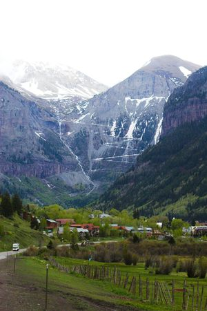 Tallest waterfall in Colorado, Bridal Vail, falling from the mountain on famous San Juan Skyway
