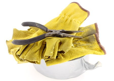 long nose: Duct tape with long nose pliers and construction gloves on white background Stock Photo