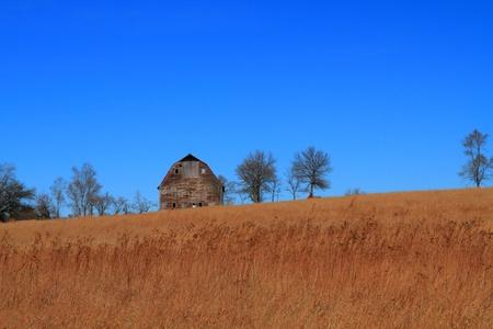 nebraska: Beautiful fall landscape and old barn