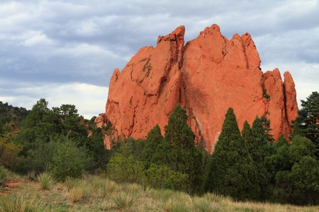 rock formation: Hiking trail through unusual rock formations in Garden of Gods, Colorado, USA Stock Photo