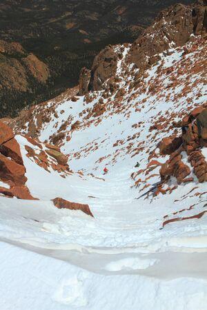 Snowy slopes of Pikes Peak Mountain and vistas in Colorado, USA