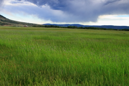 Beautiful clouded sky in the prairie Stock Photo