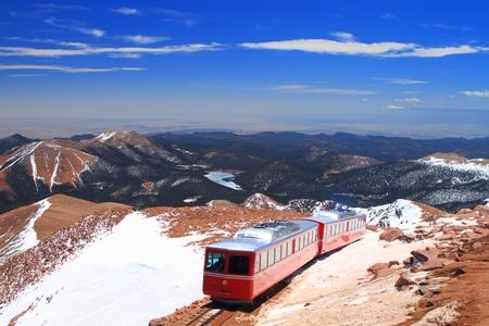 colorado mountains: View of Pikes Peak and Manitou Springs Train on the top of Pikes Peak Mountain, Colorado, USA