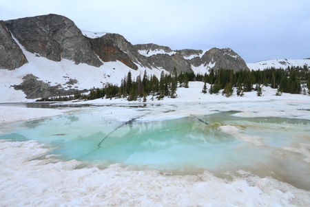 Frozen lakes in the Snowy Range Mountains of Wyoming