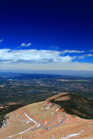 Beautiful serpentine road winding up to the Pikes Peak Mountain, Colorado, USA photo