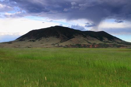 Beautiful clouded sky in the prairie photo