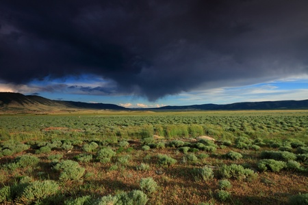 nebraska: Beautiful clouded sky in the prairie Stock Photo