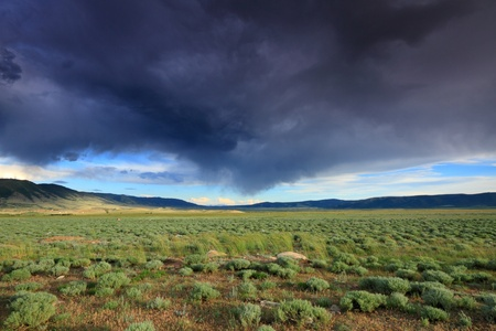 great plains: Beautiful clouded sky in the prairie Stock Photo
