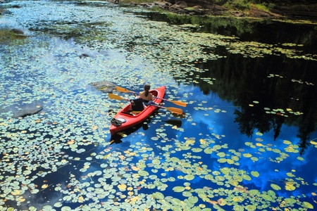 High angle view of the people canoeing and beautiful lake with water lilies