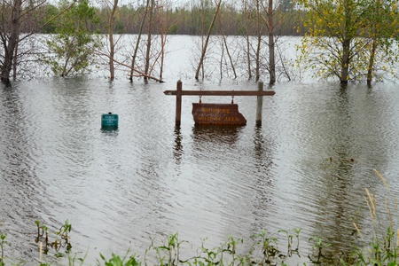 Waubonsie Wildlife Area sign  covered with flood water