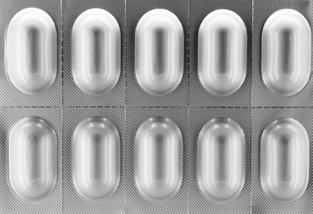 Pill blister package close up