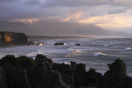 Sunset in Paparoa National Park, South Island, New Zealand photo
