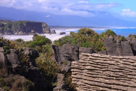 Beautiful limestone cliffs in Paparoa National Park, South Island, New Zealand photo