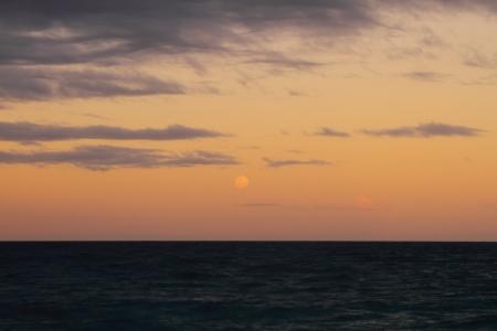 Beautiful peaceful sunset in Pacific Ocean, Abel Tasman National Park, New Zealand