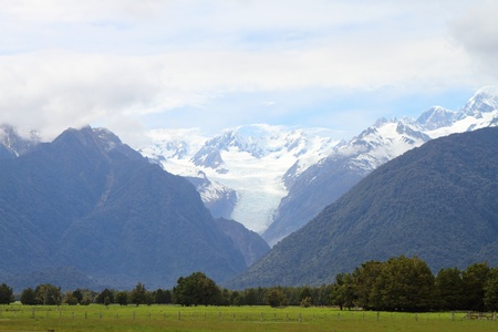 Beautiful view of a glacier and nearby landscape in Westland National Park, South Island, New Zealand Stock Photo - 16458465