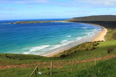 Stunning view of the Pacific Ocean and a beach in beautiful Catlins area, Southland, New Zealand photo