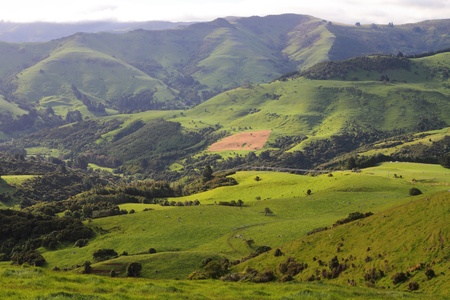 Stunning hilly landscape in Canterbury Region of New Zealand Stock Photo - 17580123