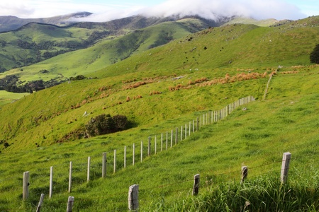 Stunning hilly landscape in Canterbury Region of New Zealand photo