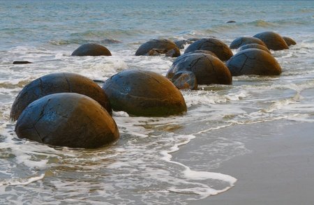 unusually: Unusually large and spherical Moeraki boulders lying along the beach on Otago coast, New Zealand