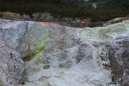 Crater with sulphur formations in Rotorua, New Zealand