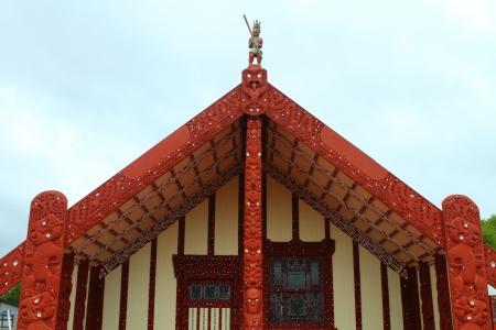 Traditional Maori meeting house  in Rotorua, North Island, New Zealand Editorial