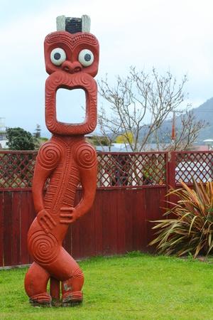 Traditional Maori carving  in Rotorua, North Island, New Zealand