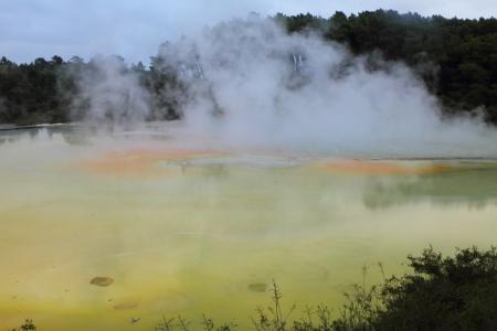 Beautiful volcanic hot spring in Rotorua, New Zealand 版權商用圖片
